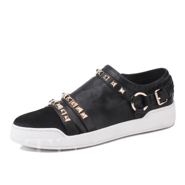Black Square Rivets Slip On Men's Casuals
