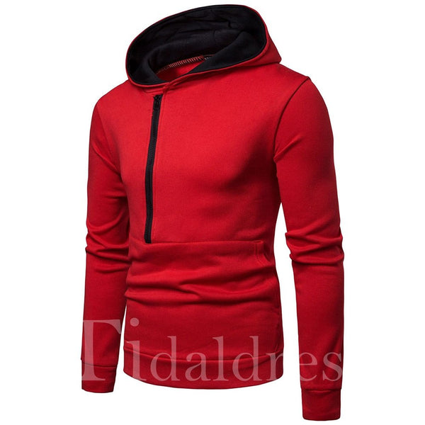 Color Block Patchwork Pullover Slim Model Men's Hoodie