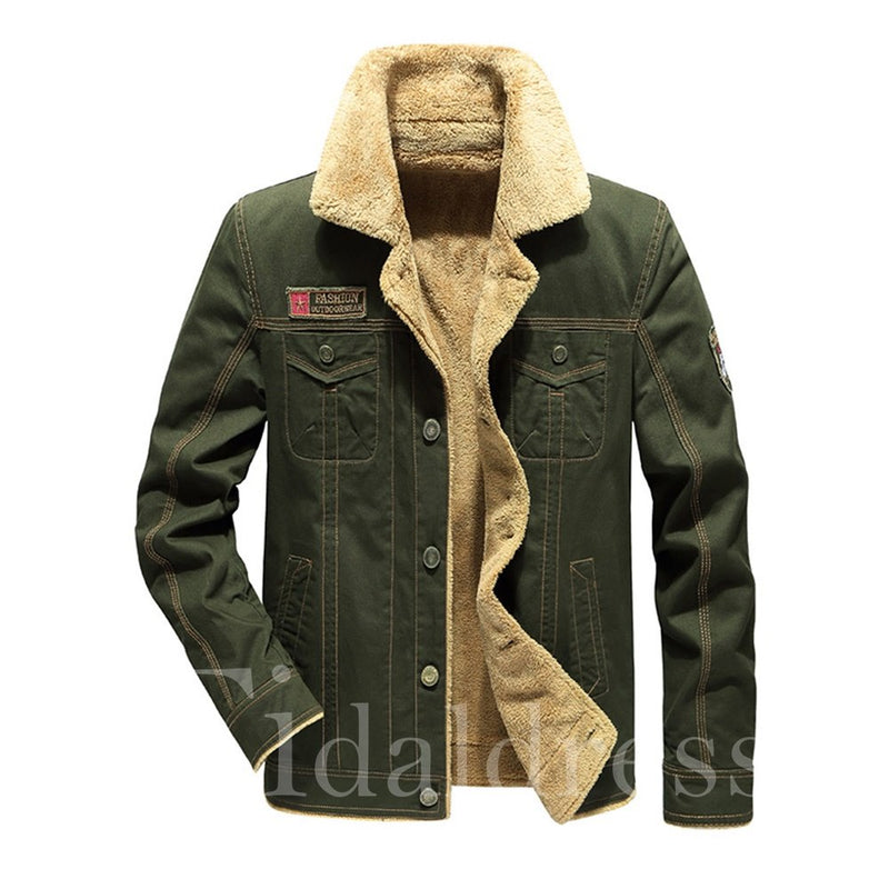 Lapel Plain Button Men's Fleece Jacket