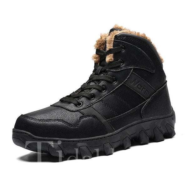 PU Round Toe Lace-Up Front Men's Boots