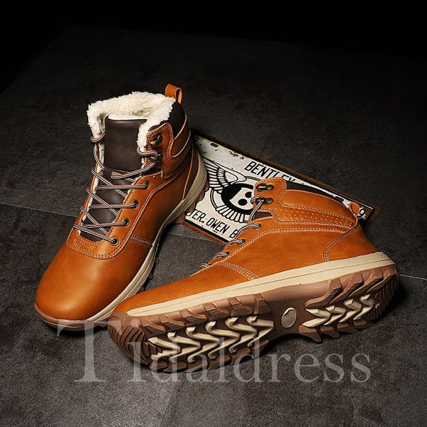Thread Glueing Lace-Up Front Men's Boots