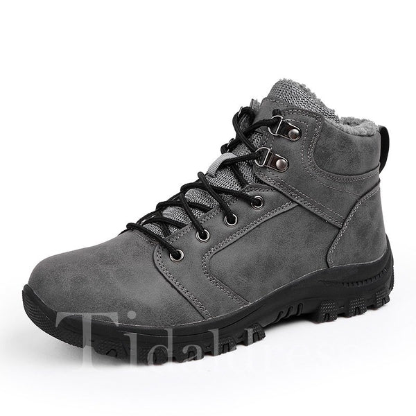 Lace-Up Front Round Toe PU Men's Boots