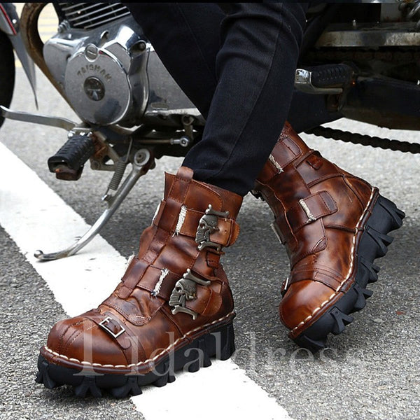 Sewing Punk Style Gradient Thread Men's Boots