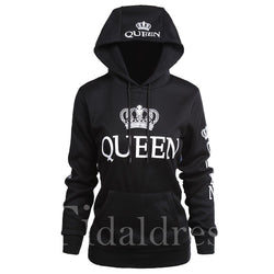 New fashion couple hoodies queen print long sleeve