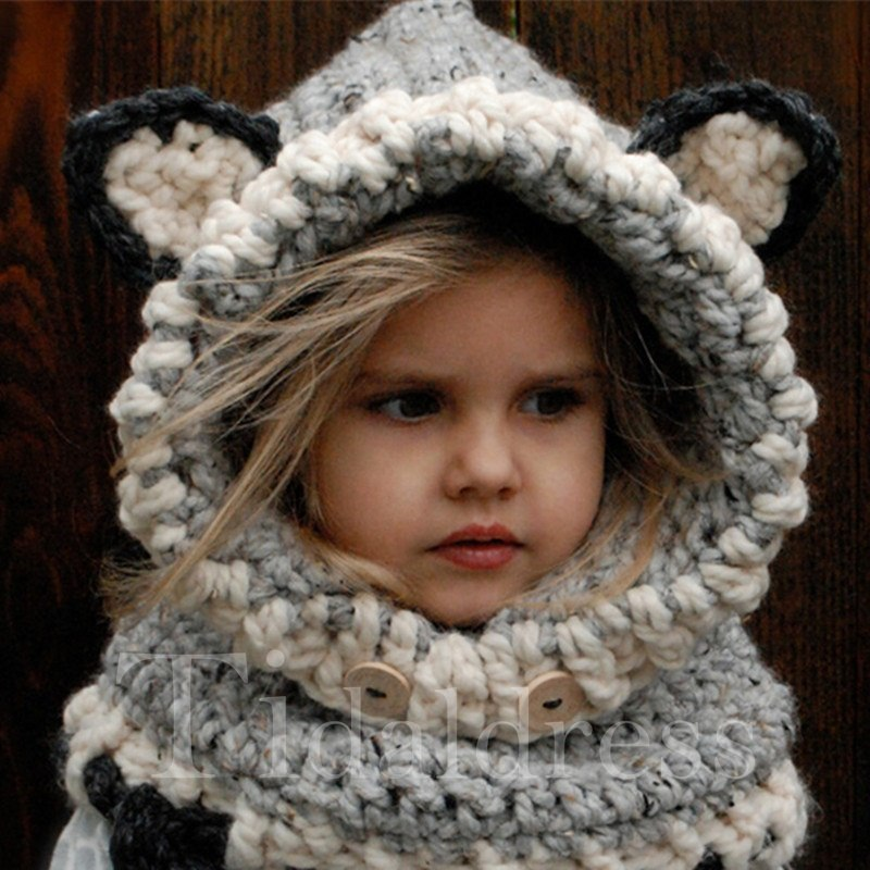 Cute Fox Ears Design Kids Hat and Scarves