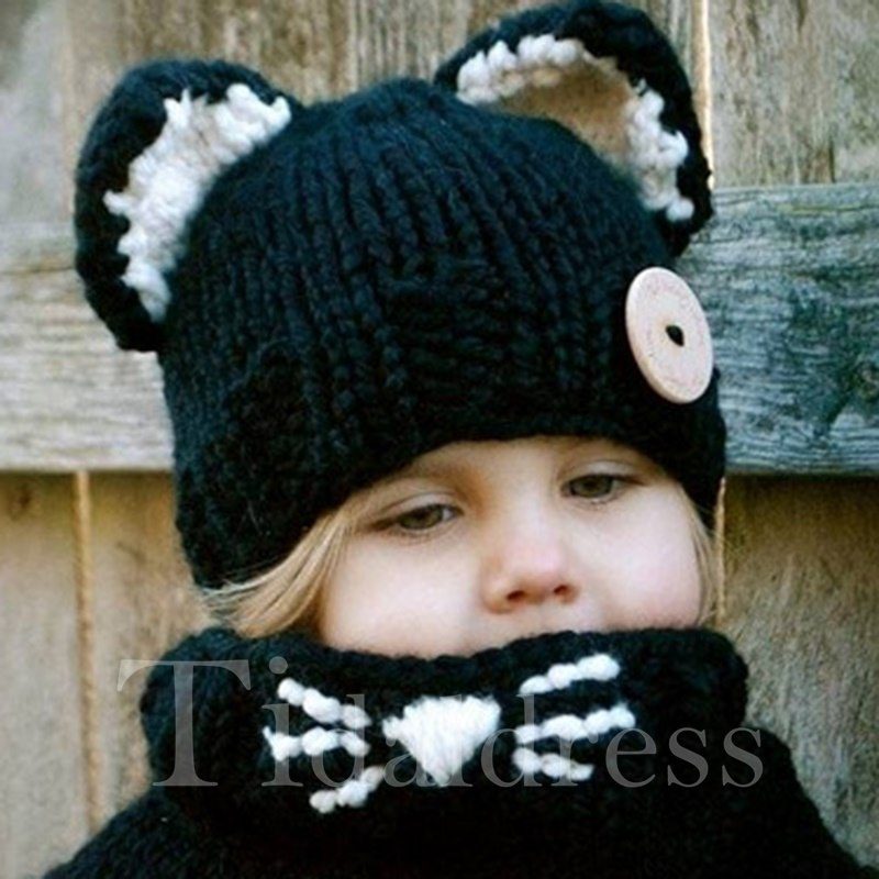 Knitted Cat Design Kids Hat and Scarf