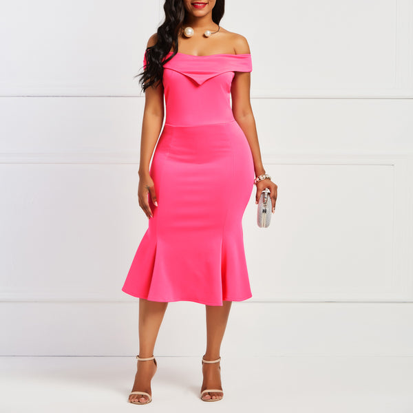 Women's Pure Color Strapless Skinny Fishtail Skirt Bodycon Dress