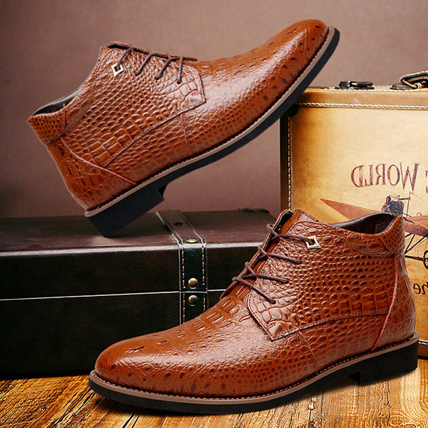 Glueing Lace-Up Front PU Men's Boots