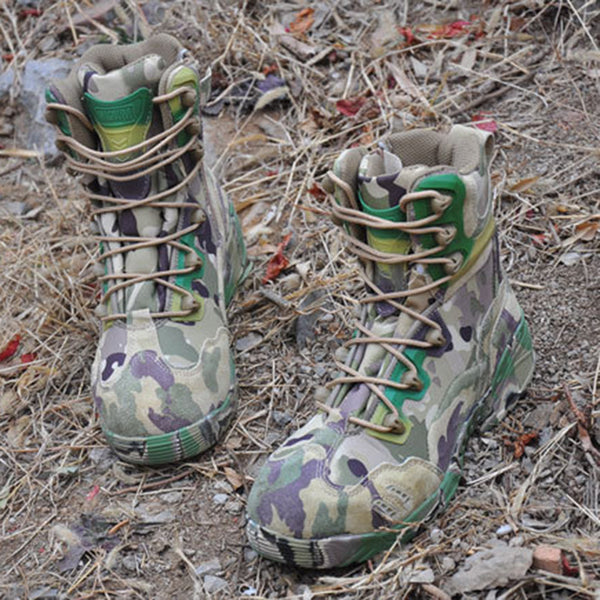 Camouflage Lace-Up Glueing Casual Men's Boots