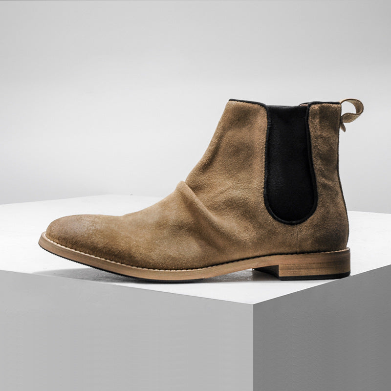 Patchwork Round Toe Plain Men's Boots