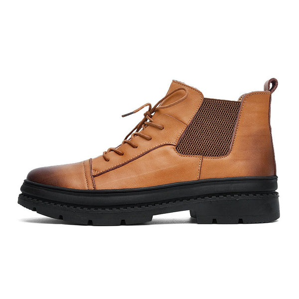 Round Toe Patchwork Men's Martin Boots