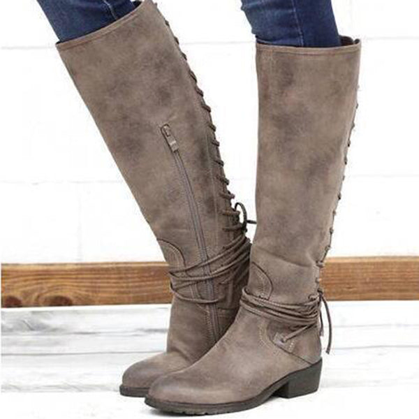 Winter Rubber Round Toe PU Knee-High Boots