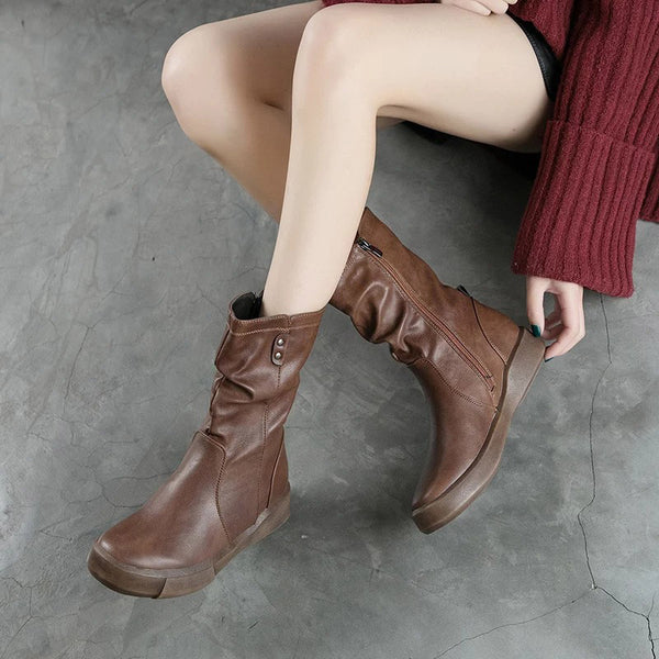 Rubber Side Zipper PU Round Toe Boots