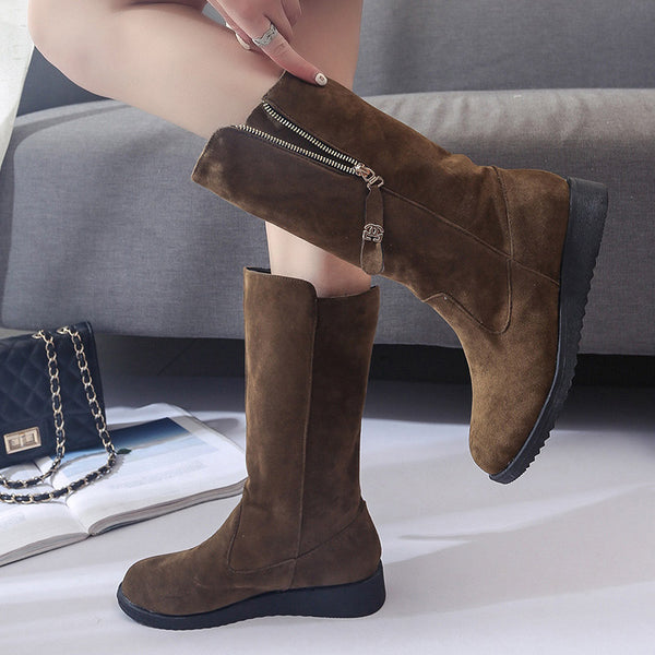 Rubber Side Zipper Round Toe Flat Boots