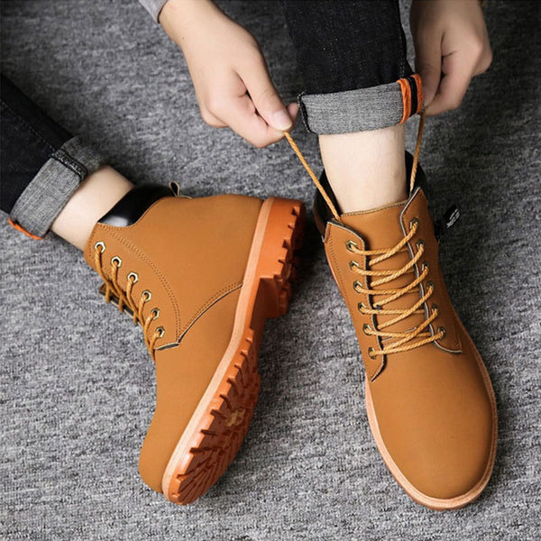 Plain Lace-Up Front Round Toe PU Boots