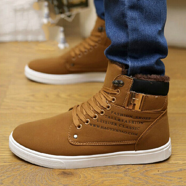 High-Cut Upper Lace-Up Letter Round Toe Skate Shoes
