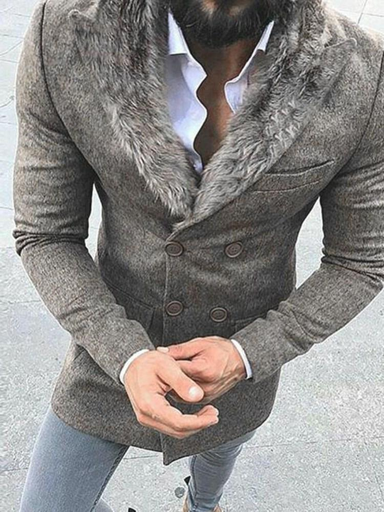 Button Plain Mid-Length Double-Breasted Fashion Coat