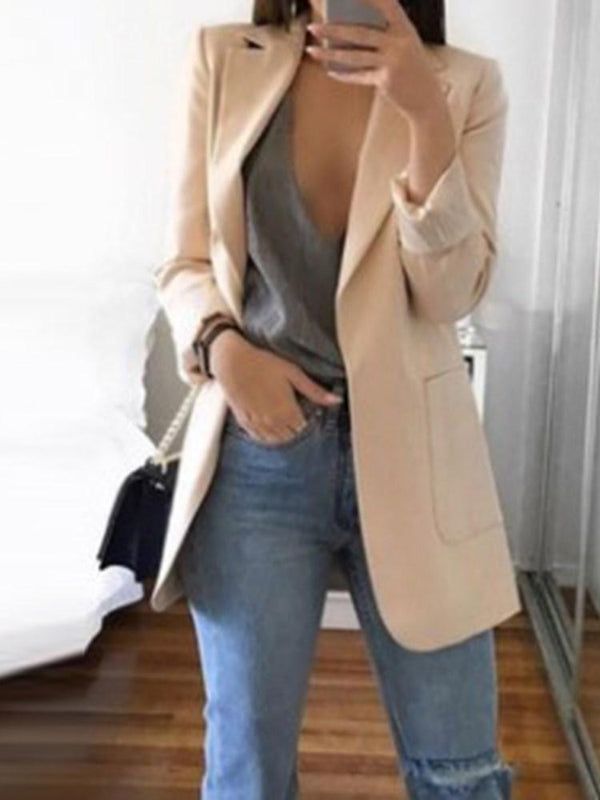 Plain Notched Lapel Long Sleeve Fall Standard Casual Blazer
