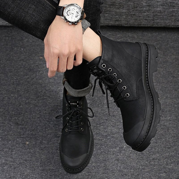 Round Toe Lace-Up Front Plain Boots