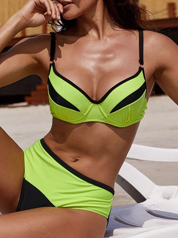 Western Color Block Tankini Set Swimwear