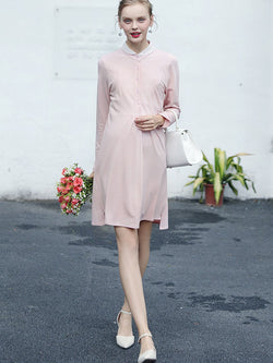 Vogue Single-Breasted Long Sleeve Maternity Dress