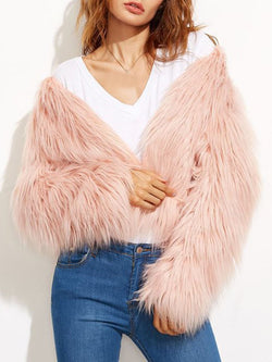 Regular Standard V-Neck Winter Thick Faux Fur Overcoat
