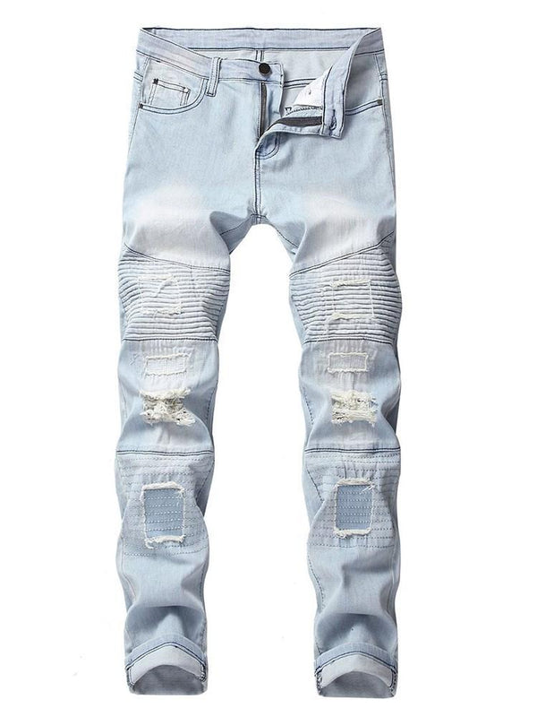 Color Block Button Zipper Mid Waist Jeans