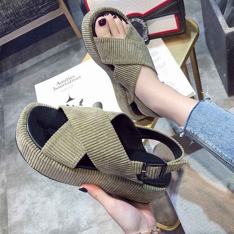Open Toe Strappy Platform Buckle Low-Cut Upper Platform Sandals