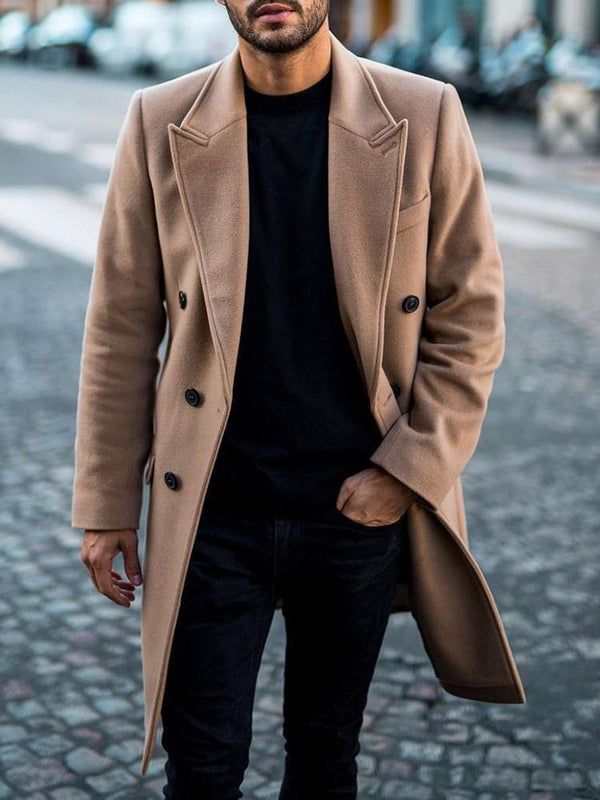 Plain Long Button Fashion A Line Coat