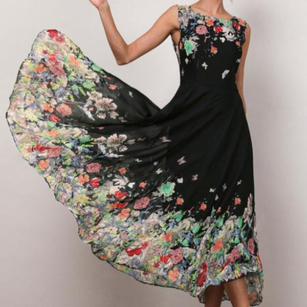 Women's Sleeveless Contrast Color Floral Dress
