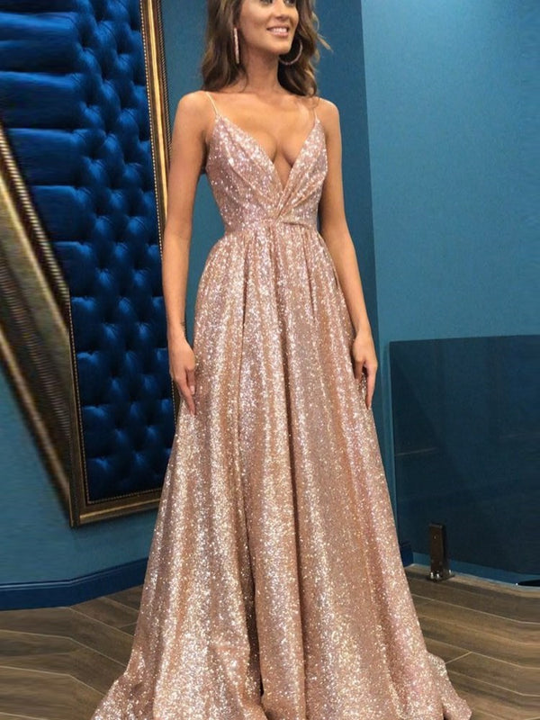 A-Line V-Neck Sequins Sleeveless Prom Dress