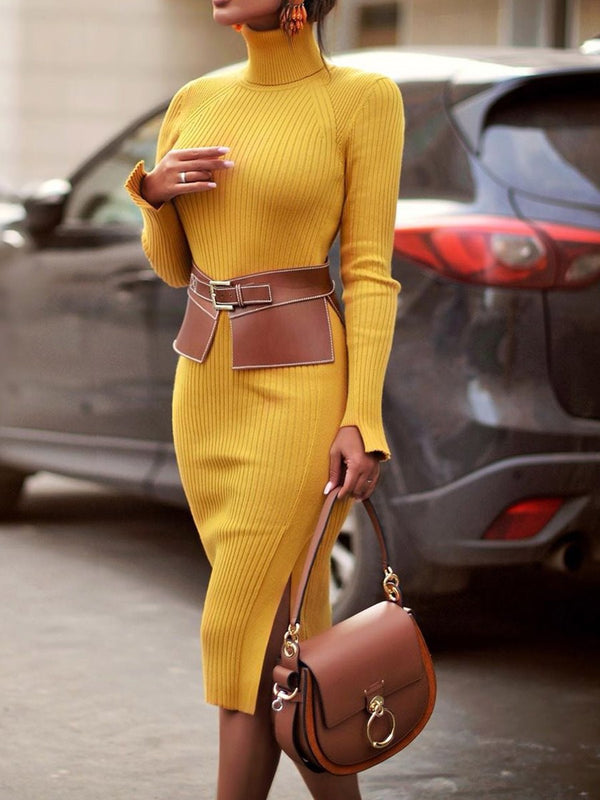 Turtleneck Mid-Calf Long Sleeve Pullover Casual Dress