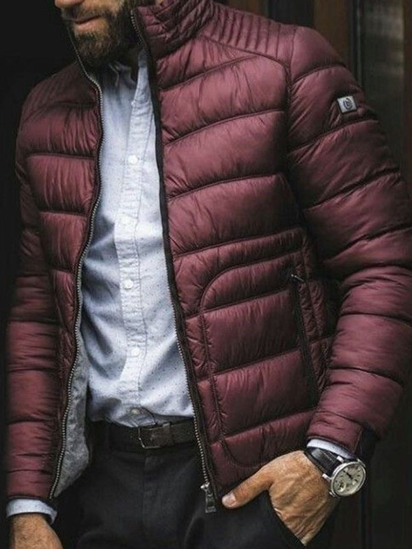 Plain Turtleneck Zipper Casual Zipper Down Jacket