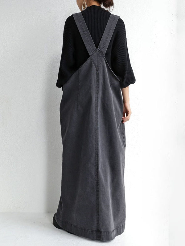 Pocket V-Neck Floor-Length Fall Pullover Dress