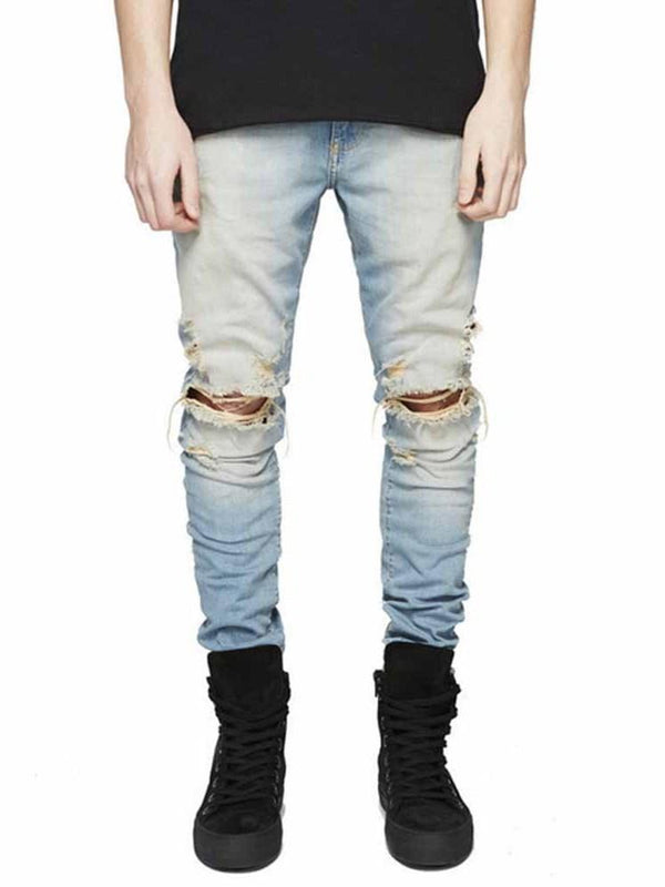 Zipper Color Block Mid Waist Zipper Jeans