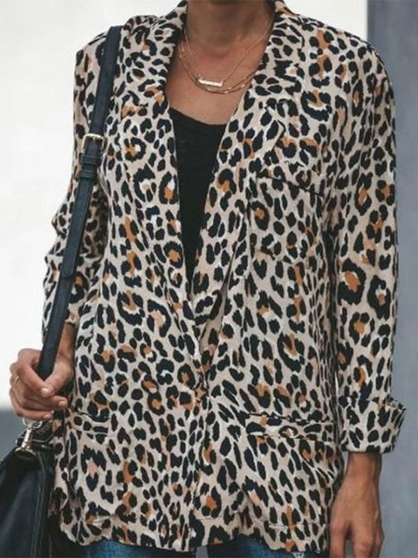 Leopard Notched Lapel Long Sleeve Mid-Length Casual Blazer