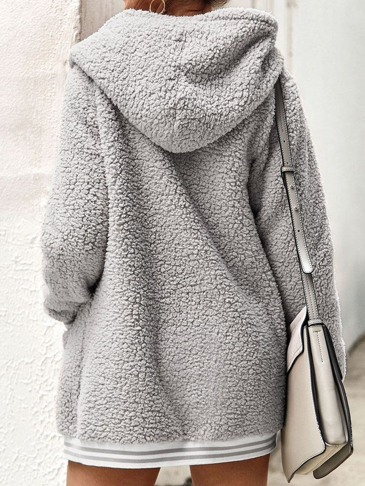 Patchwork Loose Winter Hooded Overcoat