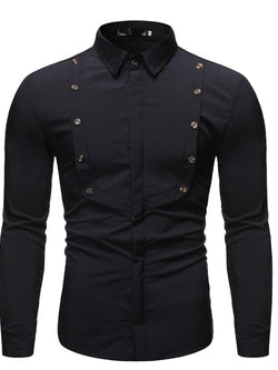 Button Plain Casual Slim Single-Breasted Shirt