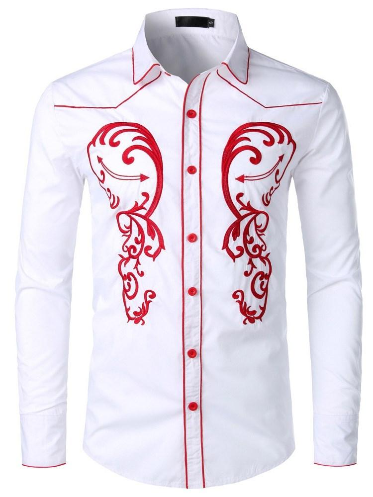 Lapel Embroidery Casual Slim Single-Breasted Shirt
