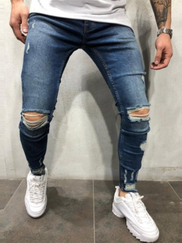Hole Color Block Zipper Casual Jeans