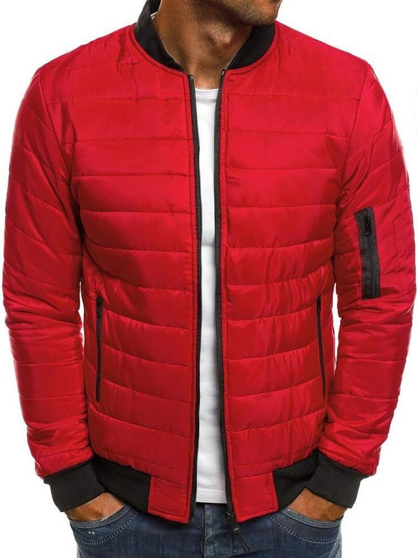 Zipper Stand Collar Color Block Zipper Casual Down Jacket