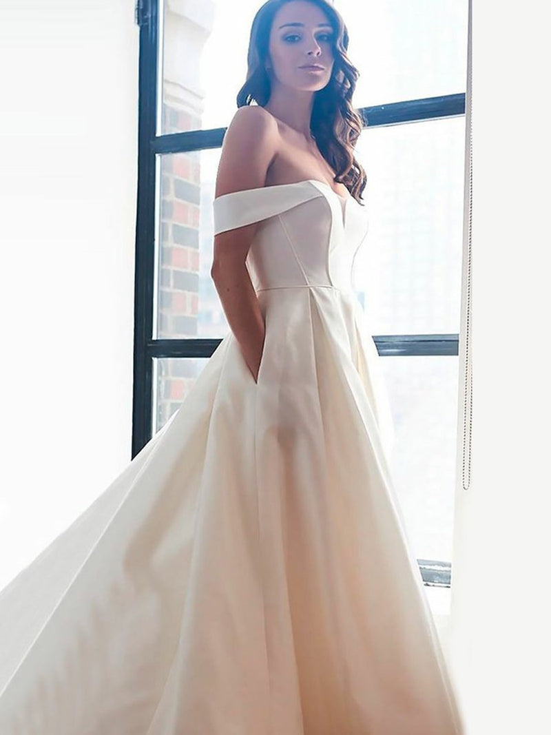 A-Line Pockets Sleeveless Off-The-Shoulder Hall Wedding Dress