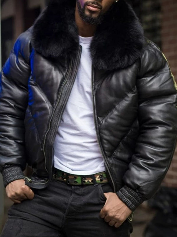 Standard Lapel Patchwork Casual Zipper Down Jacket