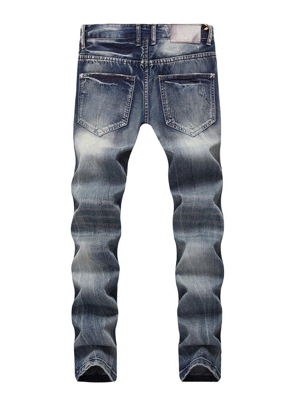 Vintage Hole Slim Straight Model Men's Jeans
