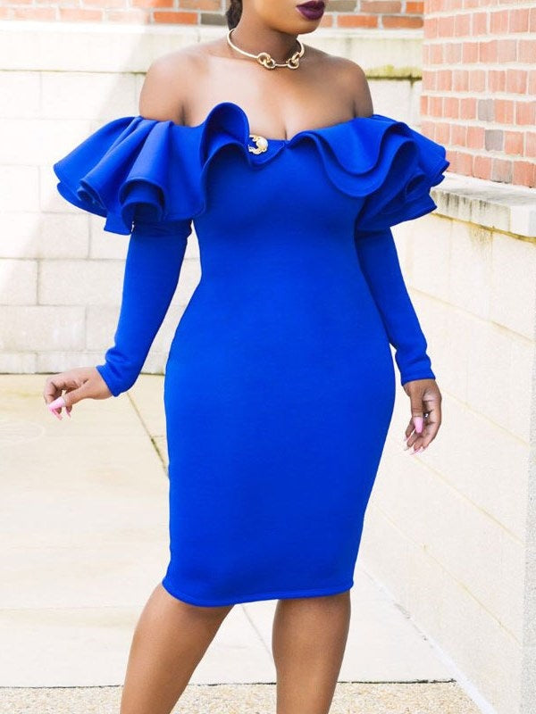 Knee-Length Long Sleeve Western Plain Bodycon Dress