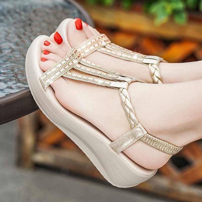 Strappy Elastic Band Wedge Heel Open Toe Platform Plain Sandals