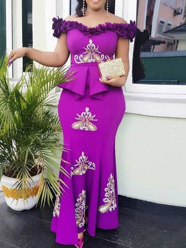 Short Sleeve Embroidery Floor-Length Bodycon Off-The-Shoulder Dress