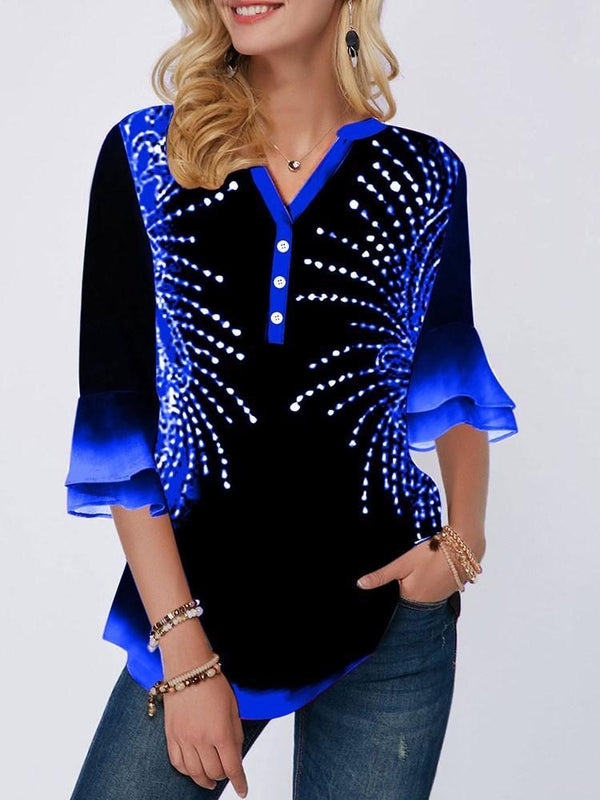 Gradient Flare Sleeve Print Mid-Length Three-Quarter Sleeve Blouse