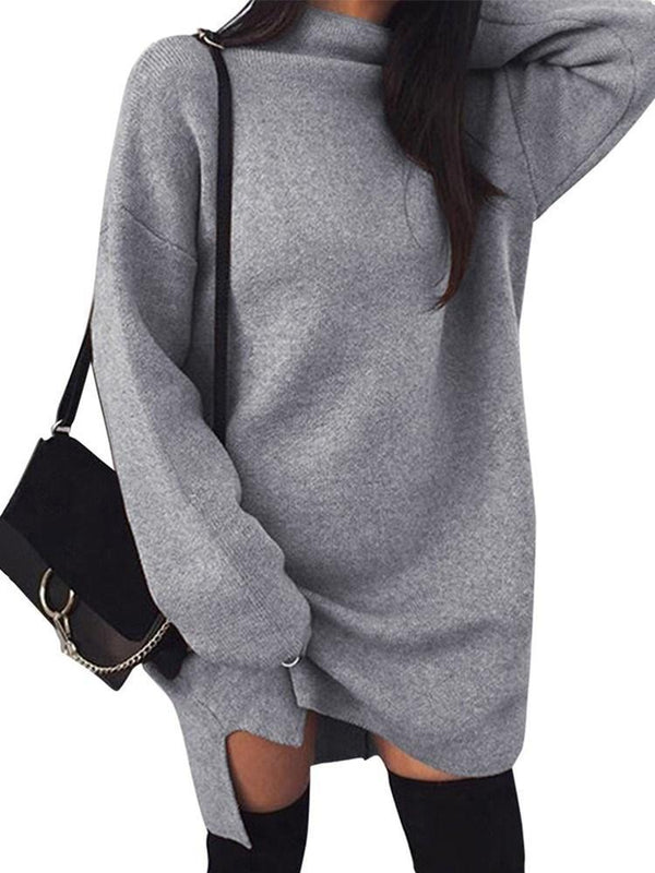 Split Turtleneck Long Sleeve Casual Straight Dress