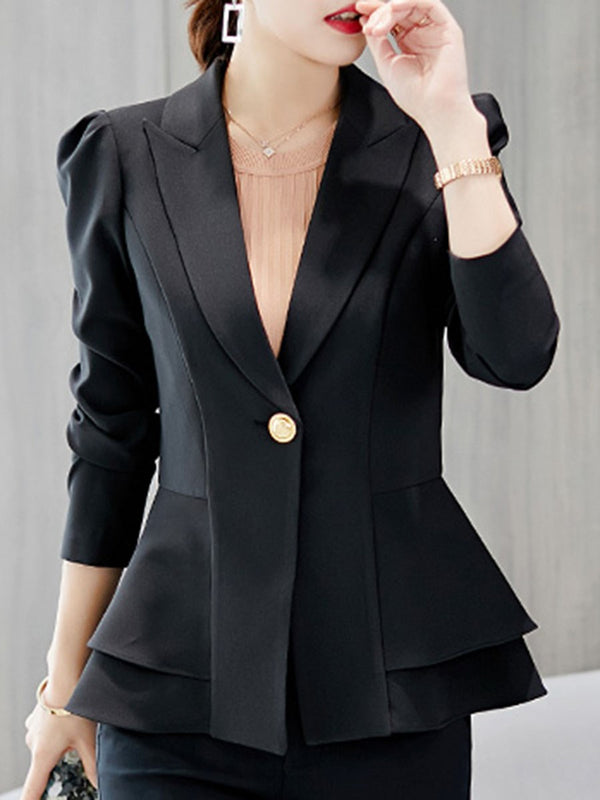 Notched Lapel Plain Long Sleeve Fall Standard Casual Blazer